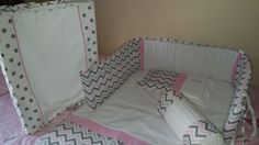 Chevron in pink-grey with grey polka dot