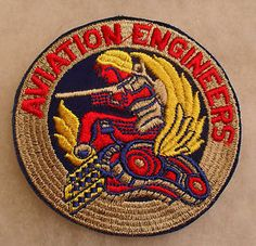 """WWII aaf Aviation Engineers Embroidered Cut Edge 3 3 4"""" Diam Patch   eBay"""