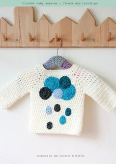 Crochet baby sweater clouds and raindrops por idalifestyle