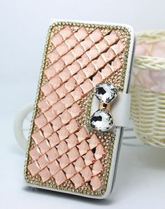 Pearls diamonds crystal leather wallet flip cover case for Nokia Lumia 630 635