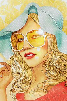 Artist: Elodie Nadreau {contemporary figurative illustrator beautiful blonde female head sunglasses woman face portrait drawing} elodie-illustrations.net