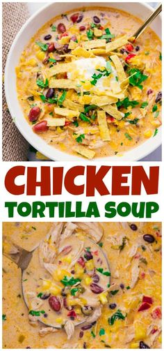 Chicken Tortilla Soup Crock Pot is full of flavor, easy to prepare and makes the house smell amazing. A perfect fall recipe & one that feeds a crowd. soup for a crowd Chicken Tortilla Soup Crock Pot - A Dash of Sanity Slow Cooker Huhn, Slow Cooker Soup, Slow Cooker Chicken, Slow Cooker Recipes, Crockpot Recipes, Cooking Recipes, Healthy Recipes, Chicken Soups, Chicken Tortilla Soup Crockpot