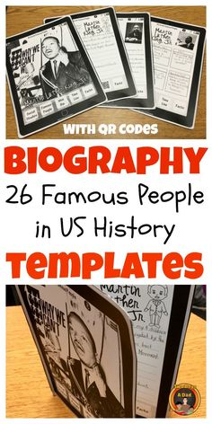 With this integrated social studies and language arts project, explore American History through the people who lived through it!  With these 26 templates of famous people, students research an individual with provided QR codes or other sources.  Information is gathered on a note taking sheet then drafted and finally published onto the template which looks like a tablet.  Come check out the preview!
