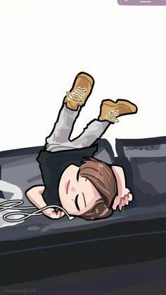 Lol Fanart Bts, Jungkook Fanart, Bts Jungkook, Cartoon Fan, Cute Cartoon, Kpop Drawings, Cartoon Drawings, Kawaii Drawings, Army Drawing