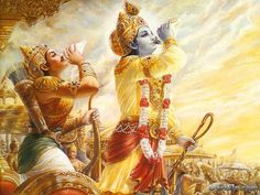The Bhagavad Gita. It is one of the most authoritative books of the Hindu religion. It is the immortal song of the Soul, which bespeaks of the glory of life. The Srimad Bhagavad Gita is a dialogue between Lord Krishna and Arjuna. Krishna Photos, Krishna Pictures, Krishna Images, Bhagavad Gita, Indian Gods, Indian Art, Arte Krishna, Krishna Leela, Krishna Radha