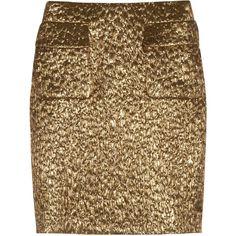 Rochas Metallic brocade skirt ($385) ❤ liked on Polyvore featuring skirts, bottoms, saia, faldas, gold, metallic skirt, knee length skirts, brown skirt, brown knee length skirt and brocade skirt