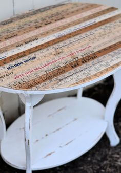 Shabby Love: Yardstick Table  I've been hoarding old yardsticks for awhile; time to create!