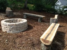 Firepit and chainsaw benches