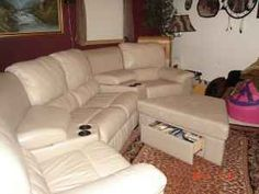 Theater Style Leather Sectional Sofa
