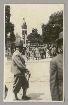 """Lviv, 1940-1941. It's rare photograph, you can see here two monuments, which co-existed during period, called """"first Soviets"""", - monument of king Jan III Sobieski (now in Gdańsk) and monument to Stalin Constitution/Friendship of nations (erected in 1940, destroyed in June 1941)."""