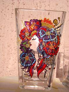 Vaza (velika) Glass painting Mirjana Selena