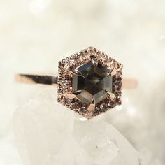 Black Hexagon Diamond Halo Engagement Ring, 14k Rose Gold