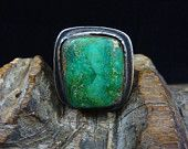 Size 9.5 Old Pawn Vintage Navajo Sterling Silver Ring w Gorgeous Carico lake Turquoise! Super Old Beauty From The Early 1900's!