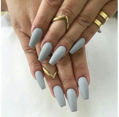 Light grey matte nails