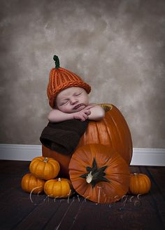 Newborn Boy in a Pumpkin ~ Fall Picture ~ Meridian, MS ~ Creative Images Photography