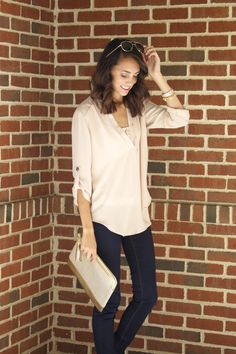 Dry Goods Blush colored blouse, and gold layered necklace. Fall date night outfit 2014