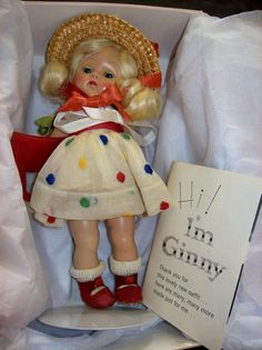 "VINTAGE 1950s GINNY VOGUE DOLL - 8"" w/ STAND - EXCELLENT CONDITION! MUST SEE! #DollswithClothingAccessories"