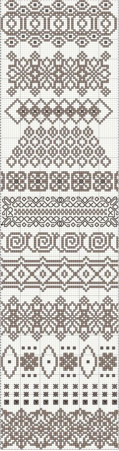 Freebie ~ Light Cocoa Lace Band Sampler I love the seventh one from the top: it looks like a conga line of snails. Fair Isle Knitting Patterns, Knitting Charts, Knitting Stitches, Knitting Designs, Sock Knitting, Knitting Tutorials, Vintage Knitting, Free Knitting, Cross Stitch Borders