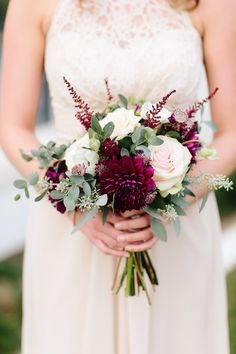 Pink and burgundy bridesmaid bouquet. Pink and burgundy bridesmaid bouquet. Event Design & Coordination by Greg Boulus Events, based out of Augusta, GA. Photography by Lauren Carnes Photography. Small Wedding Bouquets, Fall Wedding Flowers, Bride Bouquets, Bridal Flowers, Flower Bouquet Wedding, Floral Wedding, Spring Wedding, Small Bouquet Of Flowers, Dahlia Bouquet