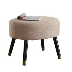 Ottoman For Small Spaces Foot Stool Foot Rest Modern Round Seat Footrest Bench Ottoman Table, Round Ottoman, Tufted Ottoman, Leather Ottoman, Sofa Furniture, Furniture Design, Furniture Removal, Kitchen Furniture, Tufted Storage Bench
