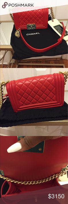 Authentic Chanel bag Brand new 100% authentic medium Chanel Boy Bag - 2015 Autumn collection - Quilted calfskin, red with gold hardware. Dimensions: 7.9 x 4.7 x 3.1 ''                          🚫No Trades🚫 CHANEL Bags Shoulder Bags