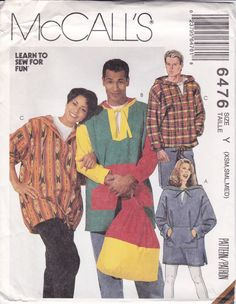 1993 Top Pattern Backpack Hooded Shirt McCall's 6476 Sewing Uncut Men's Teens Misses Women's Size XS - M Chest 29 . Mens Sewing Patterns, Mccalls Patterns, Simplicity Sewing Patterns, Pattern Sewing, Sewing Ideas, Top Backpacks, Backpack Pattern, Loose Fitting Tops, Top Pattern