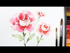 [LVL5] How to paint a Rose in watercolor - Step by Step Tutorial - YouTube