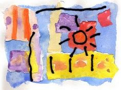 Collage with watercolor paper--kids create community paper in one solid and one with repeated patterns to share with the group.