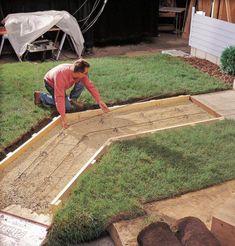 Walkway option 3 - All For Garden Concrete Landscape Edging, Concrete Pathway, Wood Walkway, Brick Pathway, Outdoor Walkway, Concrete Steps, Pouring Concrete Slab, Concrete Casting, Cement