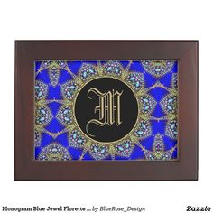 Shop Monogram Blue Jewel Florette Keepsake Box created by BlueRose_Design. Wooden Keepsake Box, Keepsake Boxes, Mahogany Color, Black Velvet, Cyber, Colorful Backgrounds, Vintage Antiques, Mall, First Love