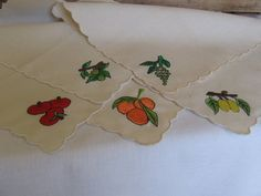Embroidered Fruit Luncheon Napkins Set of 5 by MyVintageTable, $6.00 #pcfteam
