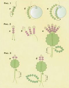 схема плетения репейника из бисера