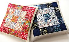 Simple squares patchwork cushion using Liberty lawn fabrics and linen - free pattern and tutorial by Very Berry Handmade