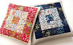 Monochromatic Liberty cushions (or pincushions, or sachets)