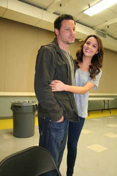 Justin Chambers (Alex Karev  and Sarah Drew (April Kepner) #GreysAnatomy Set Visit! #ABCTVEvent
