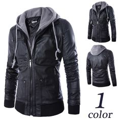 Black Hooded Zip Leather Jacket - Jacket - eDealRetail - 1