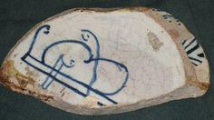 frammento di coppetta petal-back siglato FB per Francesco di Bernardino del Berna di Nanni, ritrovato ad Acquapendente. (1520 circa) - retro