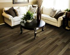 This is a hybrid grade that includes more sap wood and natural characteristics from the lumber. Walnut Wood Floors, Wood Floor Installation, Wood Floor Finishes, Installing Hardwood Floors, Concrete Wood, Sofa, Couch, It Is Finished, Flooring