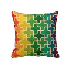 Colorful Retro Pattern Pillow