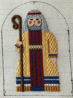 Needlepoint Nativity Shepherd - Stitched by Anne Deegan, Carol Dupree design, stitch guide by Diana Bosworth
