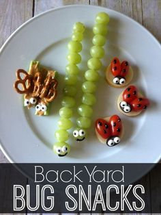 Want a fun snack your kids will love? Try my Back Yard Bug Snacks…sure to plea… Want a fun snack your kids will love? Try my Back Yard Bug Snacks…sure to please even the pickiest little eater in your house! Snacks Für Party, Fruit Snacks, Lunch Snacks, Fun Fruit, Ladybug Snacks, Bag Lunches, Fruit Art, Lunch Box, Yummy Recipes