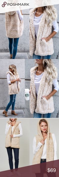 Faux Fur Sherpa Vest Warm and fuzzy! Sleeveless Sherpa Vest with Pockets! Dress up with jeans and a sweater of down with sweats. Only 1 in beige color. I also have in gray.   Can be bundled for a discount. Price is Firm. Jackets & Coats Vests