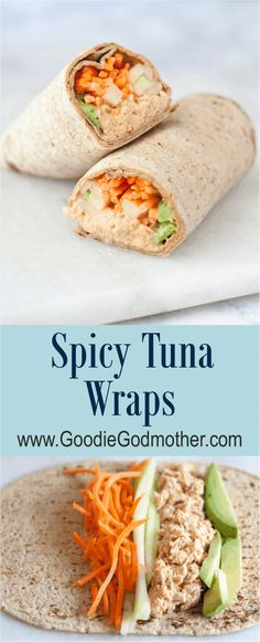 Quick and Easy Healthy Dinner Recipes - Spicy Tuna Wraps- Awesome Recipes For Weight Loss - Great Receipes For One For Two or For Family Gatherings - Quick Recipes for When You're On A Budget - Chicken and Zucchini Dishes Under 500 Calories - Quick Low C Spicy Recipes, Lunch Recipes, Seafood Recipes, Healthy Dinner Recipes, Healthy Snacks, Healthy Eating, Apple Recipes, Easy Wrap Recipes, Spicy Tuna Recipe