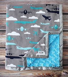 Baby Minky, Aviator Blanket, Airplane Blanket, Airplane Minky, Aviator Minky, Boy Minky, Baby boy blanket, Planes Trains and Automobiles by HeartstringThings on Etsy https://www.etsy.com/listing/191687280/baby-minky-aviator-blanket-airplane