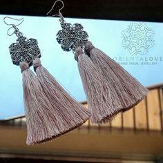 #orientaljewellery #orientalearrings #orientalflowers #with # nude #tassels #silverjewellery