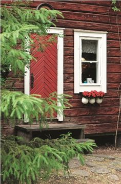 Chevron wooden door in a rustic red log cabin with white trim.