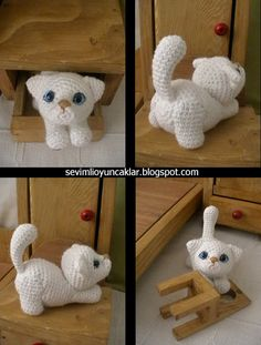 Amigurumi White Kitty Pattern by Denizmum on Etsy 7.99