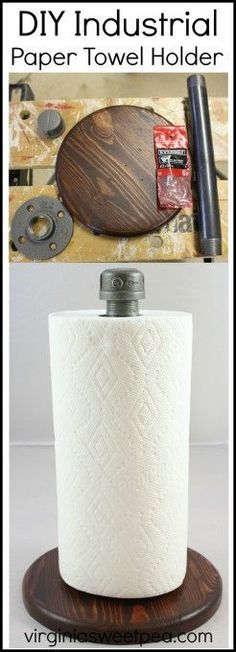 DIY Industrial Style Paper Towel Holder - Learn how to make this easy project for your own home.  virginiasweetpea.com