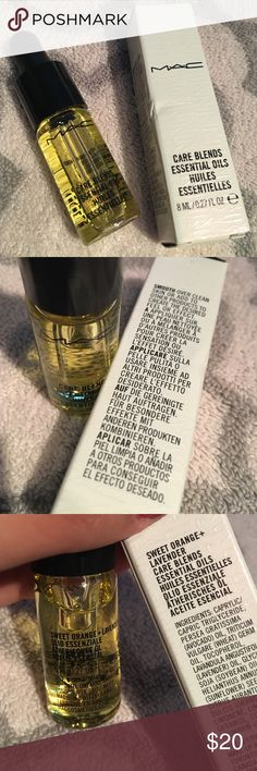 MAC essential oil in Sweet Orange + Lavender MAC care blends essential oils in Sweet Orange & Lavender. Has very slight damage to the box. Product is brand new MAC Cosmetics Makeup Brushes & Tools