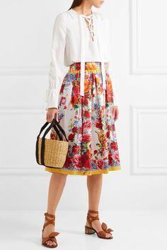 Dolce & Gabbana - Floral-print Silk-twill Midi Skirt - Red